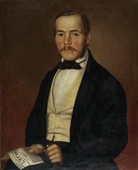 portrait einer dame (+ portrait eines herrn; pair) by gottlieb müller