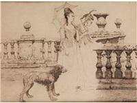 zwei vornehme damen auf einer terasse by friedrich august von kaulbach