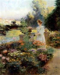 ung kvinde i en blomstrende have by edouard gelhay