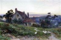 cottage and geese at sunset by sir ernest albert waterlow