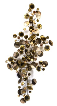 a steel and brass raindrops wall sculpture width 63 inches by curtis jere