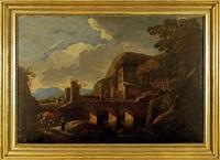 voyage près d'un pont en ruines by italian school-roman (17)