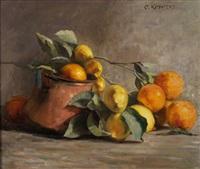 stillleben mit orangen und zitronen by olga kopetzky