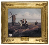 officers on horseback near a windmill (offiziere zu pferd bei einer windmühle) by eduard frederich