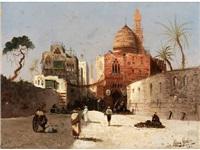 orientalische strassenszene mit moschee, minarett und händlern auf einem vorplatz by august wilhelm sohn