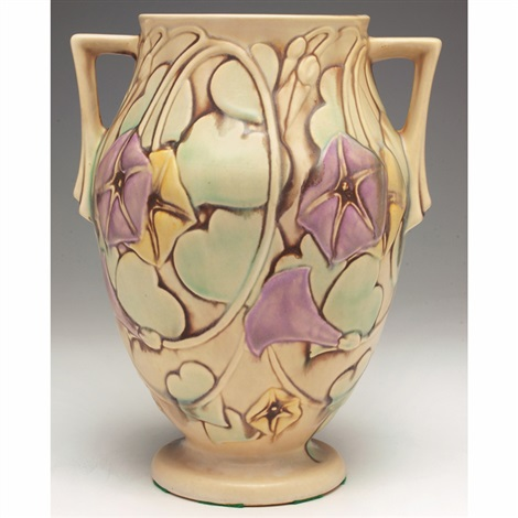 Morning Glory double handled vase by Roseville Pottery