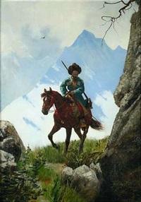 kosake zu pferd in hochgebirgslandschaft by stanislaw poraj fabijanski
