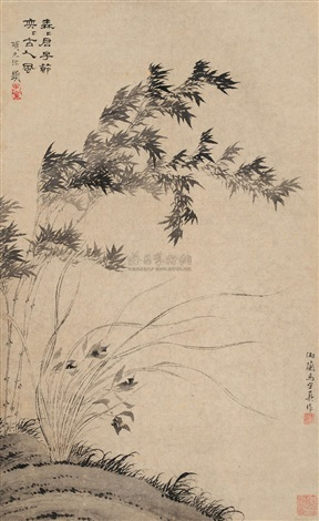 兰竹图 orchid and bamboo by ma shouzhen