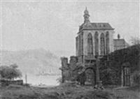 blick auf die wernher kapelle in oberwesel am rhein by franz hengsbach