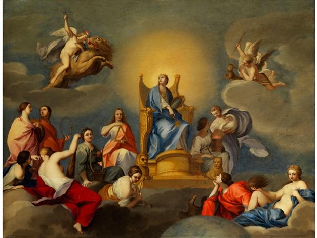 die theologischen und sittlichen tugenden mit den kardinalstugenden by anton raphael mengs