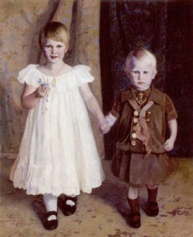 portræt af et soskendepar pigen hvid flæsekjole med dagmarkors om halsen drenden i mastrostoj by jorgen aabye