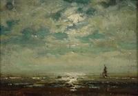 am strand von katwijk bei sonnenuntergang by arthur feudel