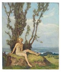 portrait einer jungen frau unter baum auf lichter höhe, im hintergrund isarlandschaft by ernst liebermann