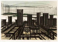 skyline (from album san francisco) (sold with 179b; set of 2) by bernard buffet
