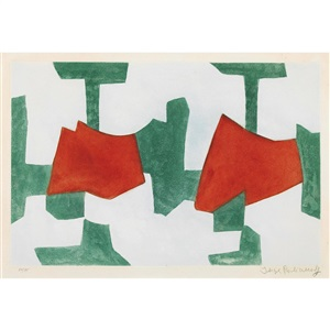 komposition in blau grün und rot by serge poliakoff