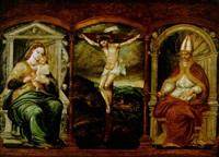 der gekreuzigte christus zwischen maria mit dem christuskind und dem bischof isidoro by pedro campana