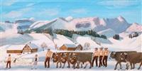 alpaufzug im schnee by christian vetsch
