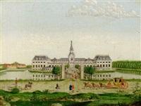 prospekt af hirschholm slot som det var da christian 6tes enkedronning sophie magdalene residerede der by christian georg lind