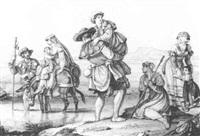pilger und pilgerinnen beim überqueren eines flüßchens by dietrich wilhelm lindau