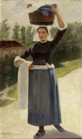 bretonische wäscherin ein waschschaff auf ihrem kopf tragend by marguerita pillini