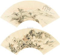 江上晚霞图 (landscape (+ another; 2 works) by wang xun and bai qing
