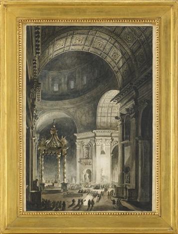 illumination de la croix de saint pierre à rome engraving by francesco piranesi by louis jean desprez