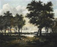 bewaldete landschaft mit reitern by isaac koene