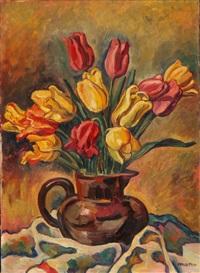 blumenstraus mit roten und gelben tulpen in tonkrug by louis joseph vonlanthen