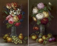 blumenstillleben (+ another, smllr; set of 2) by edwin steele