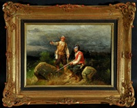 soldat und jäger im feld bei nacht by christian sell the elder