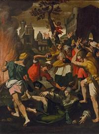 steinigung des antonius von rivoli by arnold (aert) mytens
