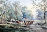 cattle and drover on a lane near ockley, surrey by henry (sr.) earp