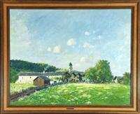 mittenwald im frühling (w/oil study, verso) by ludwig von senger