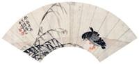芦雁图 扇面 纸本 by bian shoumin