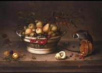 stilleben mit früchtekorb und einem kleinen affen by johannes bouman