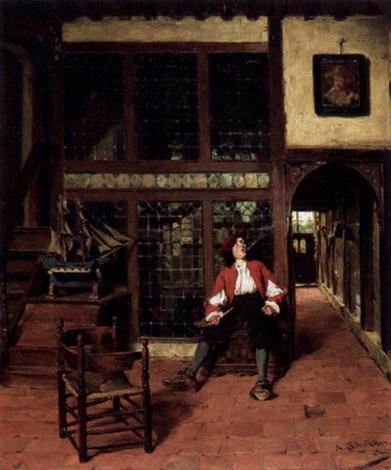 Rauchender junger Mann in einem altholländischen Interieur by Albert ...