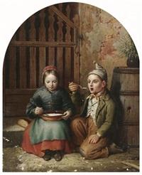zwei geschwister bei der suppe by johann peter hasenclever