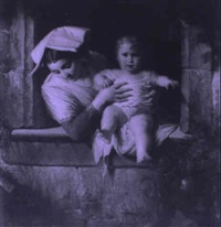 mother and child at a window by giuseppe mazzola