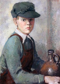 portrait of a boy seated beside a stoneware flagon by mary remington