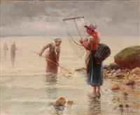 zwei fischerinnen mit ihren netzen by pierre testu