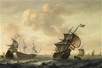 marine. dreimaster und piken bei frischer brise. im stern der rechten fregatte ein admiral by jacob gerritz loef