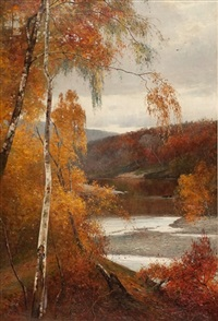 birches on the riverbank by thomas bunting