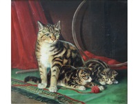 a cat with two kittens by william woodhouse