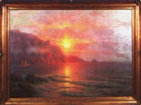 segelschiff in romantischer bucht bei sonnenuntergang by johannes harders