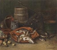 stilleben mit fischen und gemüse in tonschalen vor fischernetzen und küchengerät by jan rentinck