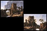 landschaft mit ruinen und figurenstaffage (+ another, similar; pair) by jean-baptiste antoine tierce