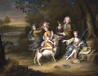 kinder in jagdkleidung mit ziegenbock by hieronymus van der mij