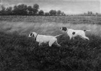 jagdstück. zwei vorstehhunde in heidelandschaft by caspar von reth