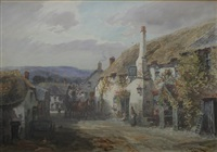 the arrival of the coach, ship inn, porlock by alfred leyman