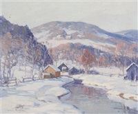 cabins by a winter stream by camillo adriani